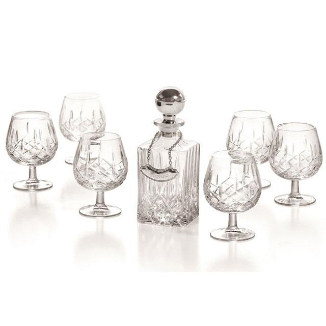 Cognac Set With Crystal Bottle Silver Plated by Chinelli