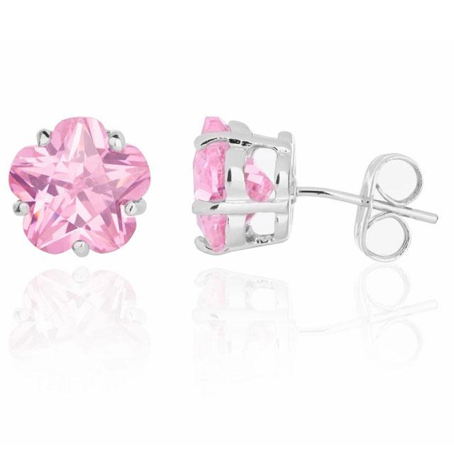 Cercei Borealy Sapphire Studs Flower Cut Pink-big
