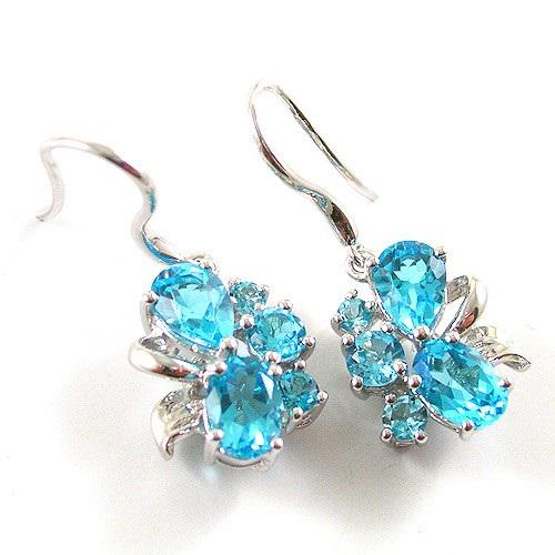 Cercei Flowers Sky Blue Topaz Natural 4,50 carate Argint 925-big