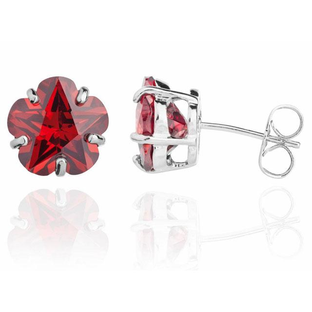 Cercei Borealy Sapphire Studs Flower Cut Red-big