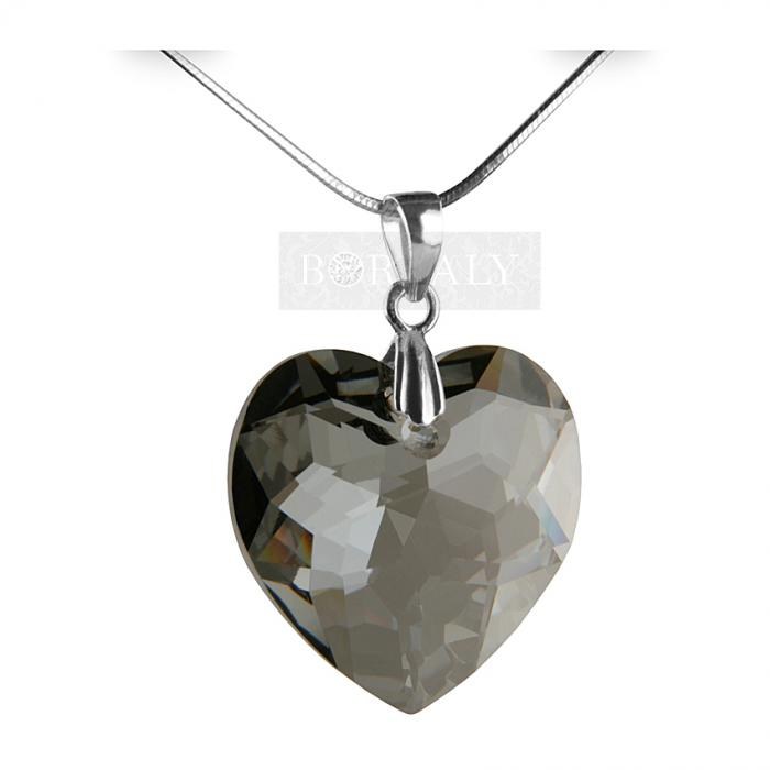 Pandantiv 18 mm Multi-facets Silver Heart by Borealy-big