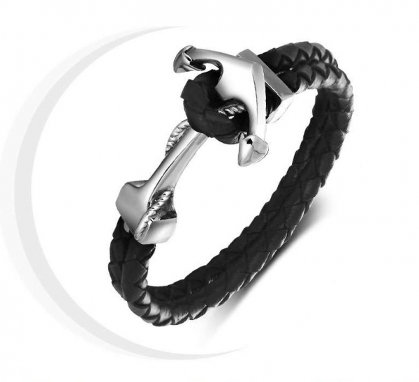 Brăţară Anchor Barbati Black Leather-big