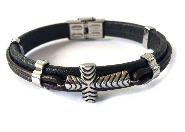 Brăţară Borealy Black Leather & Silver Cross Accents-big