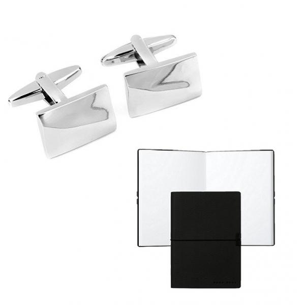 Set Butoni Monograma Chrome Finish si Note pad Black Hugo Boss-big