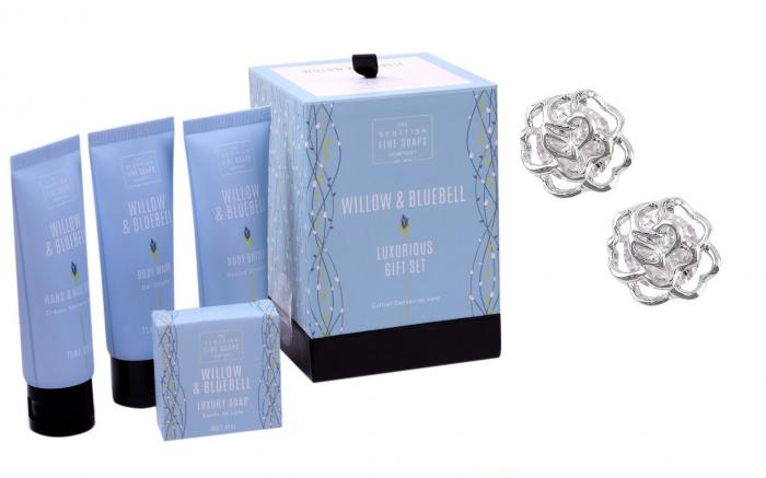 Roses Studs Sapphire Gift Set with Scottish Fine Soaps-big