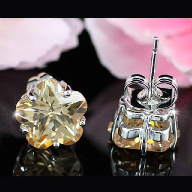 Cercei Borealy Sapphire Studs Flower Cut Amber-big