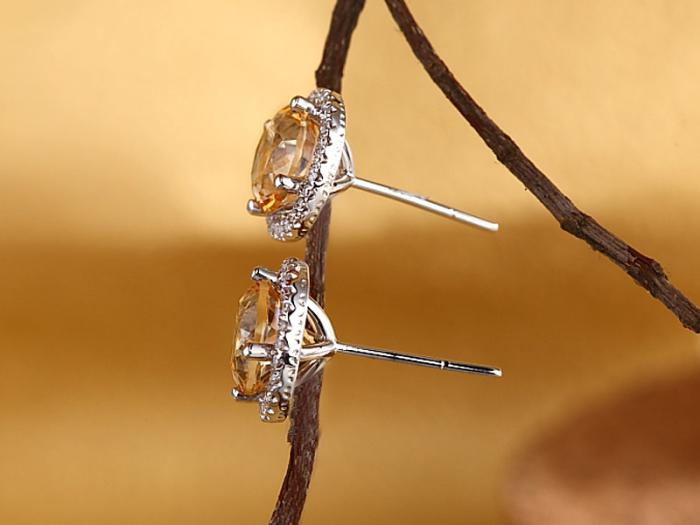 Cercei Borealy Aur Alb 14 K Topaz Galben Natural 2.5Ct & 52 Diamante-big