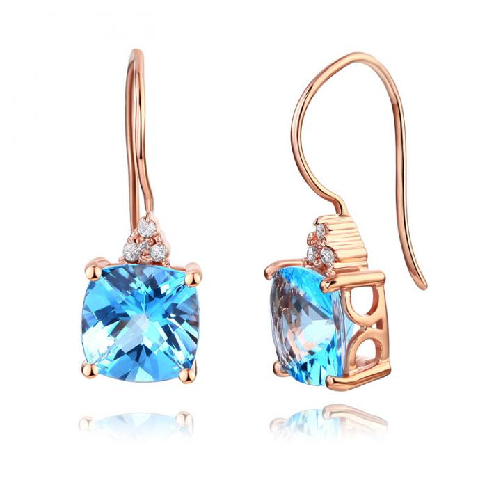 Cercei Borealy Aur Roz 14 K Topaz Natural Blue Swiss 2.5 Ct Cushion & 8 Diamante-big