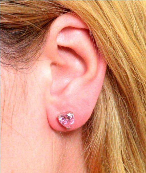 Cercei Borealy Studs Sapphire Heart Pink-big