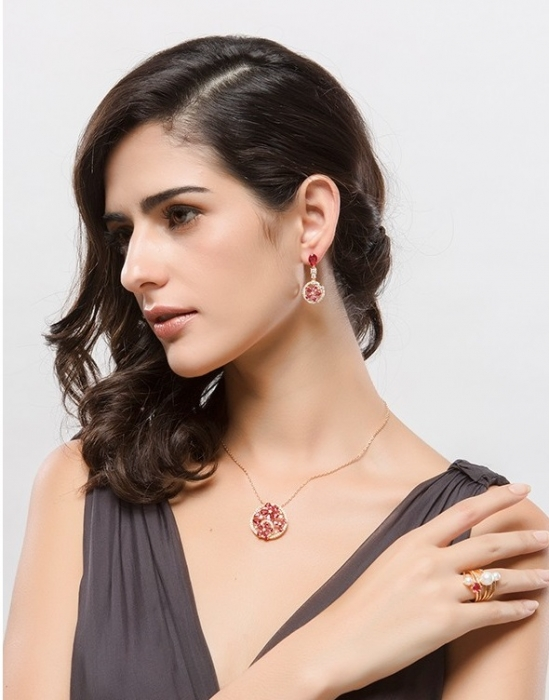 Colier Luxury Flowers Red Ruby-big