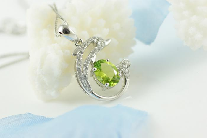 Colier Dolphin Peridot Natural Argint 925 by Borealy-big