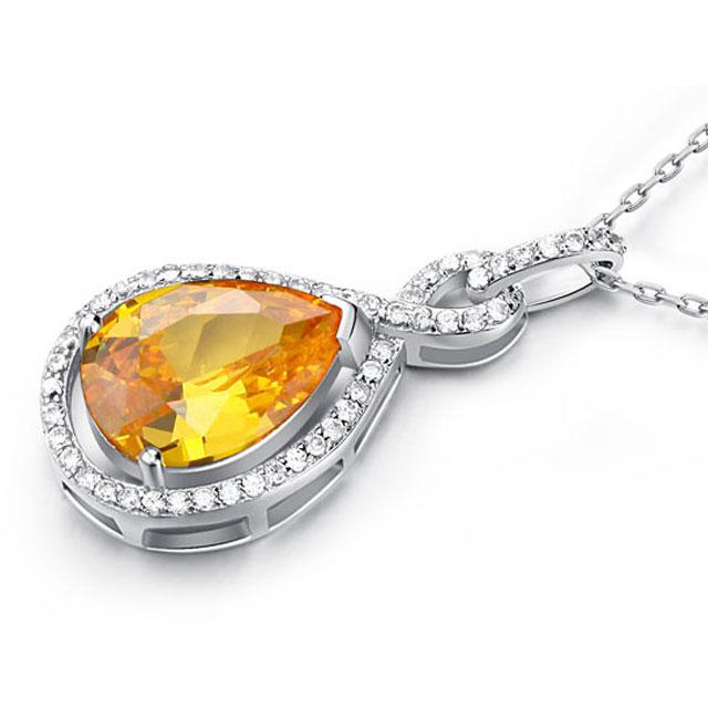 Colier Borealy Argint 925 Yellow Sapphire Fancy-big