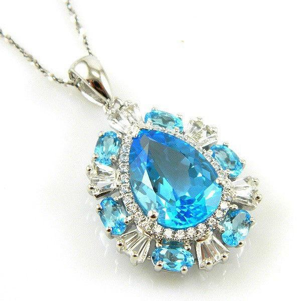 Colier Luxury Blue Topaz 9 carate - pietre pretioase naturale Argint 925-big