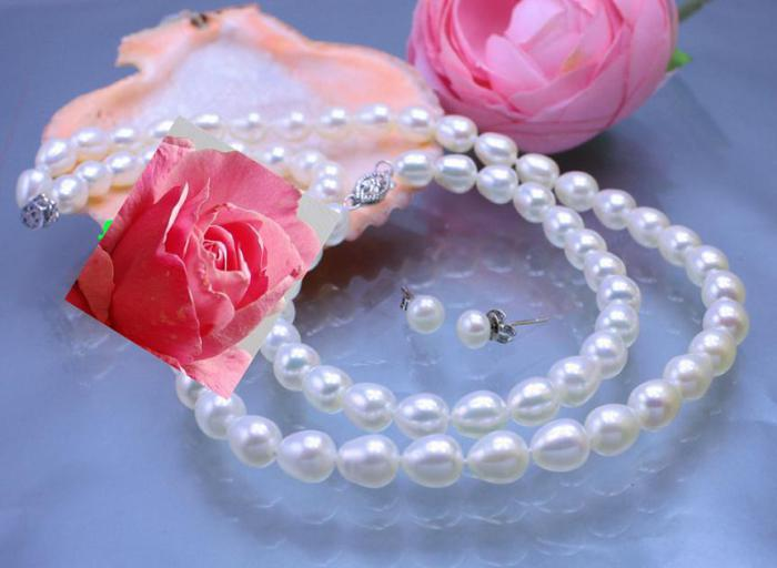 Set Beautiful White Oval Pearl-big