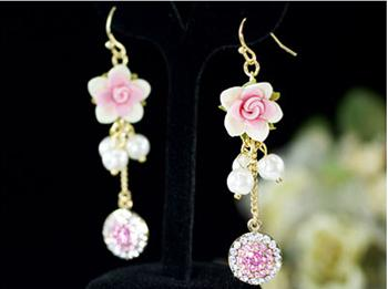 Pink Dangle Flower Cercei CRYSTALLIZED™ - Swarovski Elements-big