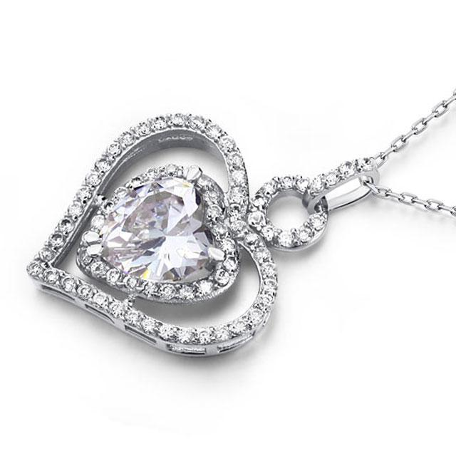 Colier Borealy Argint 925 Simulated Diamond Heart Glow-big