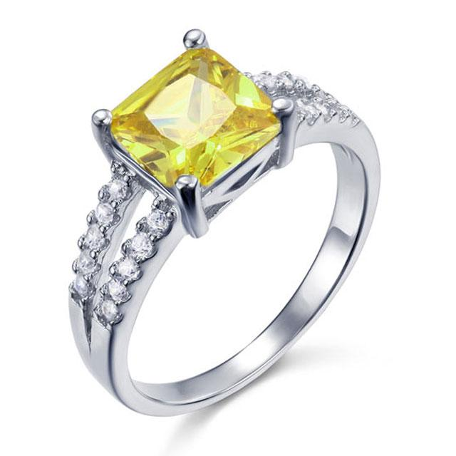 Inel Borealy Argint 925 Created Diamond Princess Yellow Canary Marimea 7-big