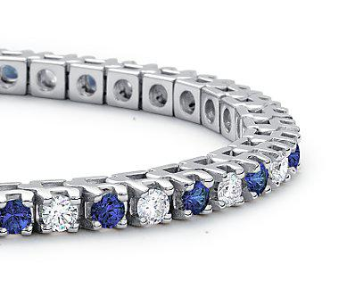 Brăţară Tennis Classic 10 carate Simulated Diamonds & Blue Sapphire by Borealy-big