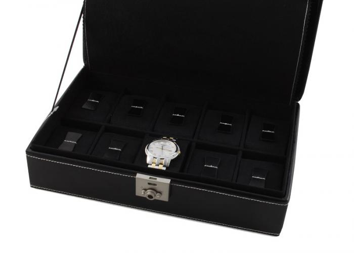 Set Cutie 10 Ceasuri London Black Friedrich - Piele Naturală - si Note Pad Black Hugo Boss-big