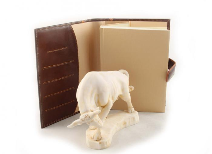 Taur & Brown Leather Notebook - piele naturala-big