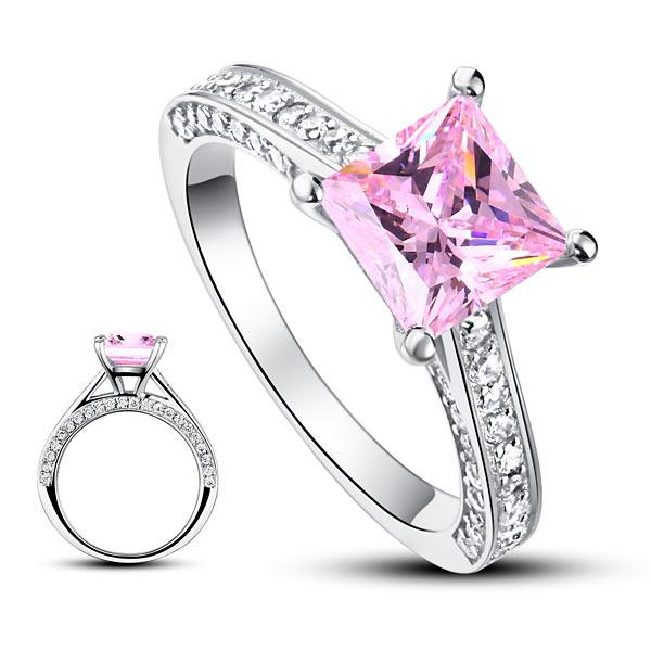 Inel Borealy Argint 925 Simulated Diamond 1.5 Carat Princess Cut Fancy Pink Mărimea 7-big