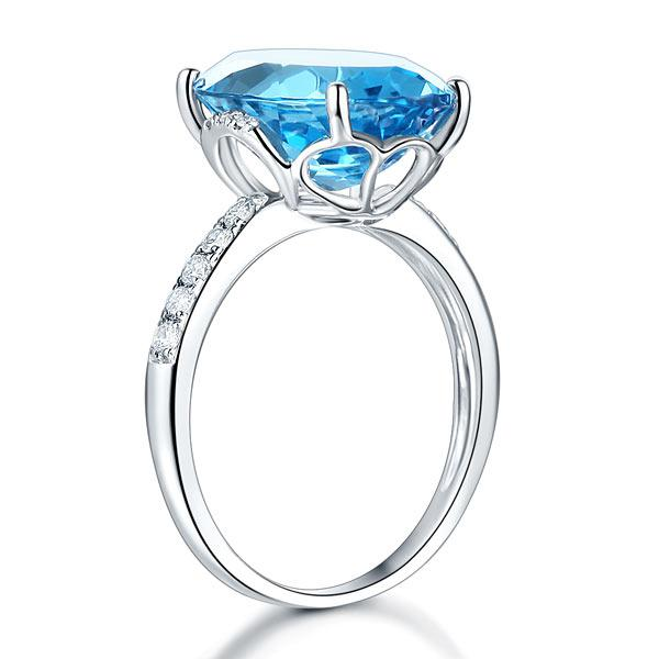 Inel Borealy Aur Alb 14K Luxury 6.5 Ct Oval Swiss Blue Topaz 0.22 Ct Diamante Naturale-big