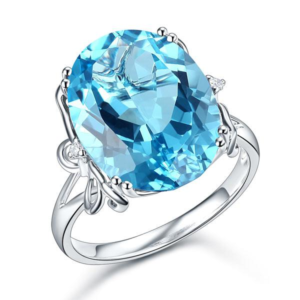Inel Borealy Aur Alb 14 K 10,3 ct Swiss Blue Topaz Natural Luxury Butterfly-big