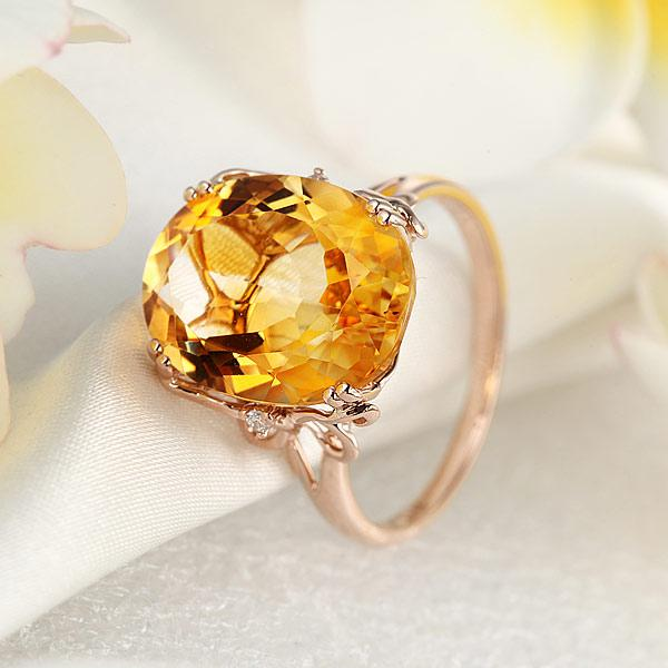 Inel Borealy Aur Roz 14 K 8,2 ct Yellow Citrin Natural Luxury Butterfly-big