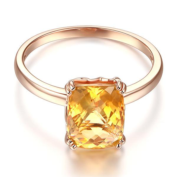 Inel Borealy Aur Roz 14 K Yellow Citrin Natural Wedding Engagement-big