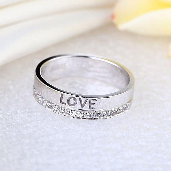"Inel Borealy Aur Alb 14 K Natural Diamond Women's Style ""Love""-big"