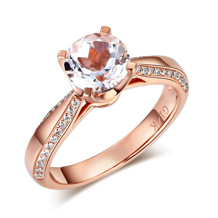 Inel Borealy Aur Roz 14 K Topaz 1,5 Ct Wedding Engagement Ring-big