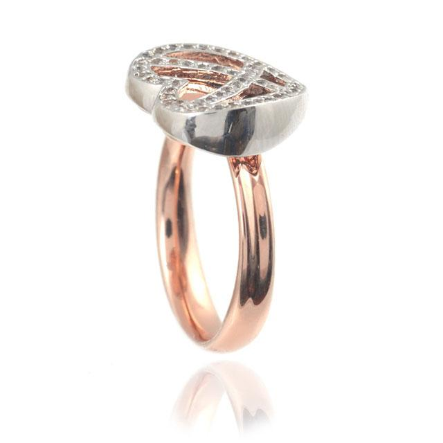 Diamond Heart White & Pink Inel Marimea 6-big