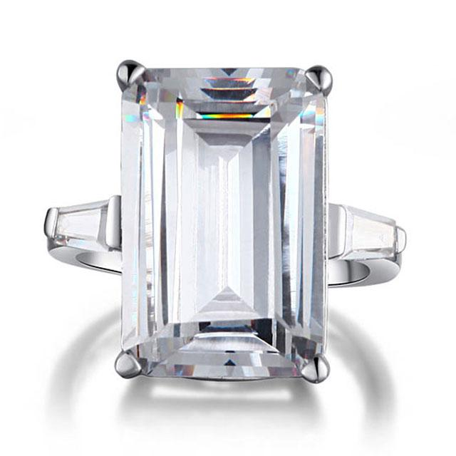 Inel Borealy Argint 925 Simulated Diamond 8.5 Carat Emerald Cut Luxe Marimea 7-big