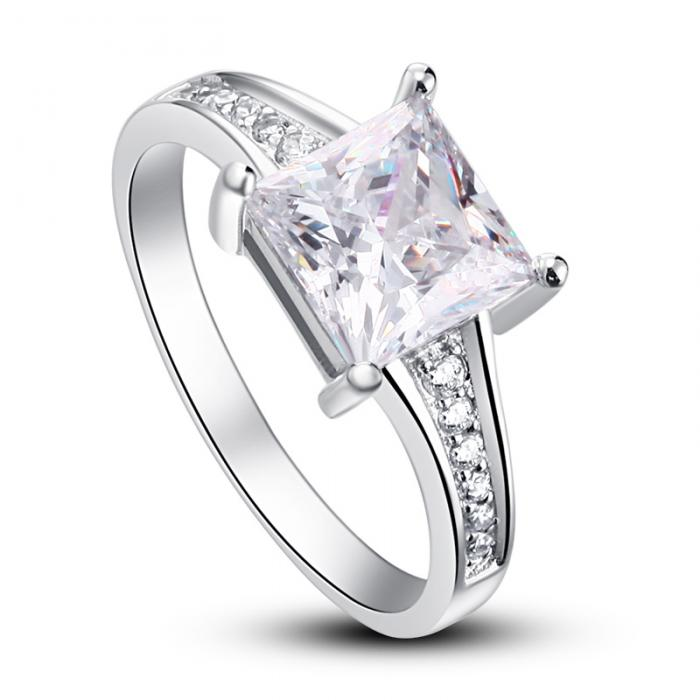 Inel Borealy Argint 925 Simulated Diamond Zirconiu Princess Marimea 8-big