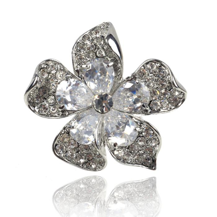 Inel Borealy Crystal Pear Cut 12 carate Queen Flower-big