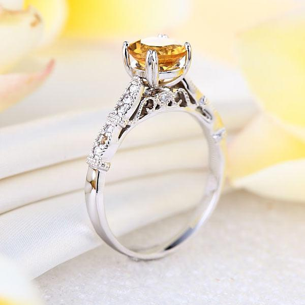 Inel Borealy Aur Alb 14K 1.2 CT Citrine Natural Diamonds Vintage Style-big