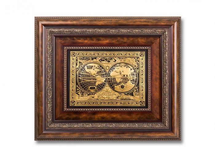 Luxury World Map Painting by Credan - Gold Plated - Made in Spain-big