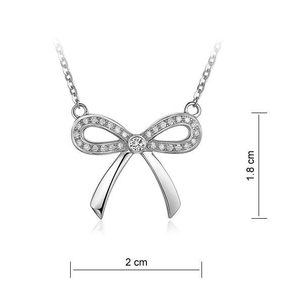 Pandantiv Borealy Aur Alb 14 K 0,17 Ct Natural Diamonds Bow-big
