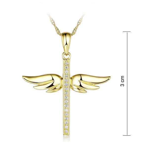 Pandantiv Borealy Aur Galben 14 K 0,08 Ct Natural Diamonds Angel Wing Cross-big