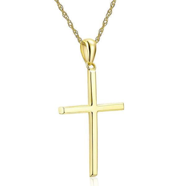 Pandantiv Borealy Aur Galben 14 K Plain Cross-big