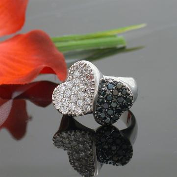 Inel Black and White Heart made with Swarovski Elements-big