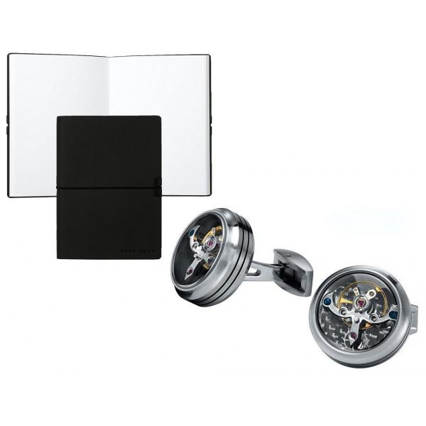 Set Butoni Tourbillon Luxury Silver si Note pad Black Hugo Boss-big