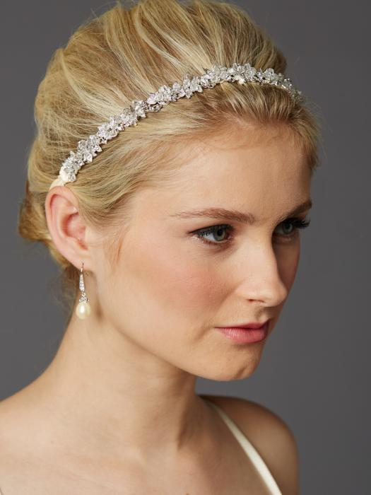 Tiara Borealy Crystal Flowers with Ivory Ribbons-big