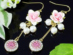 Pink Dangle Flower Cercei CRYSTALLIZED™ - Swarovski Elements1