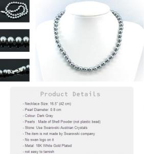 Perle Black Gray Colier CRYSTALLIZED™ - Swarovski Elements3