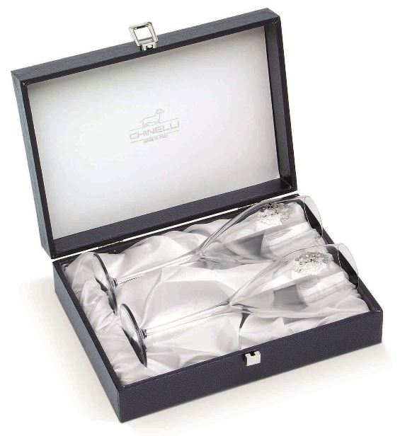 Arabesque Spumante Set 2 Glasses Champagne Silver Plated by Chinelli   made in Italy
