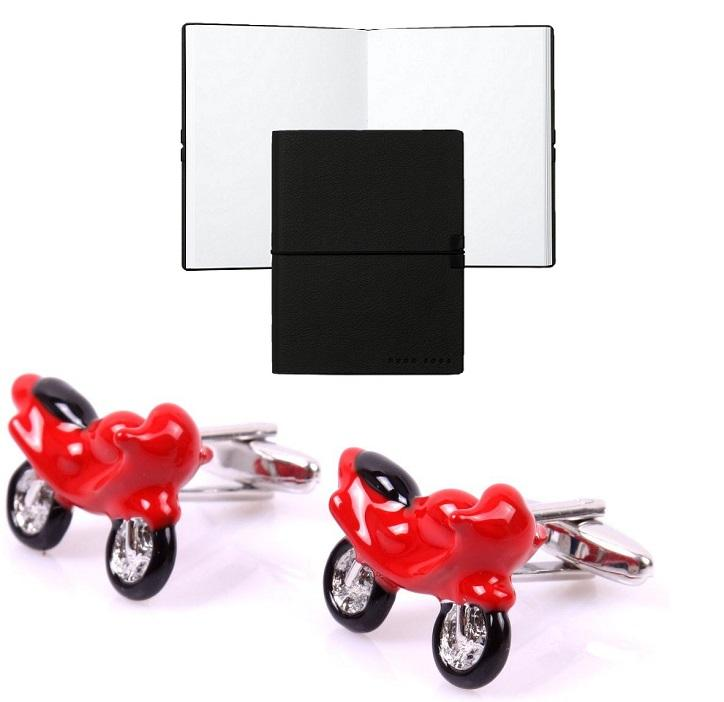 Set Butoni Borealy Red Motorcycle si Note pad Black Hugo Boss