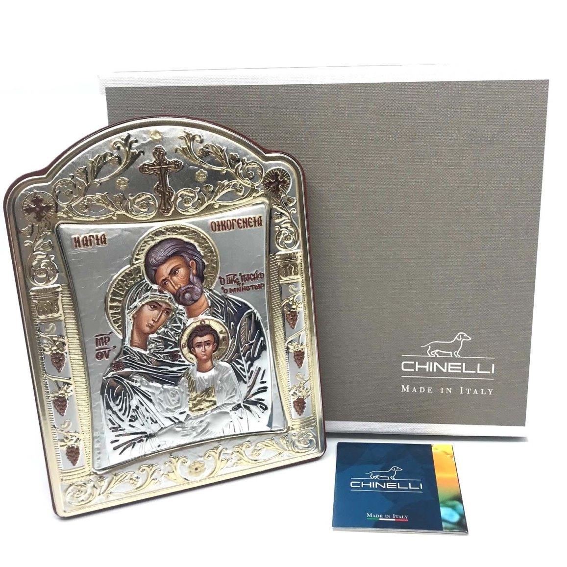 Icoana Sagrada Famiglia placata Aur si Argint by Chinelli   made in Italy