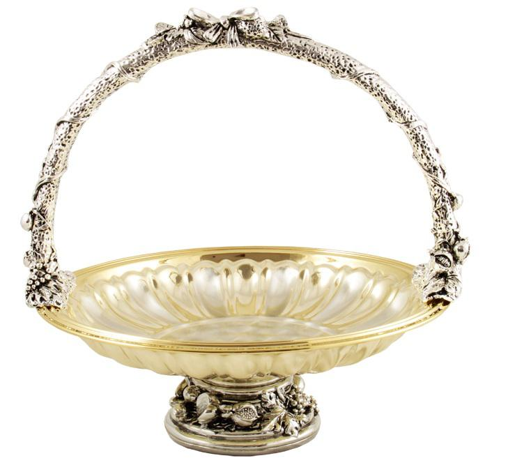 Gold  Silver Fruit Bowl by Chinelli made in Italy