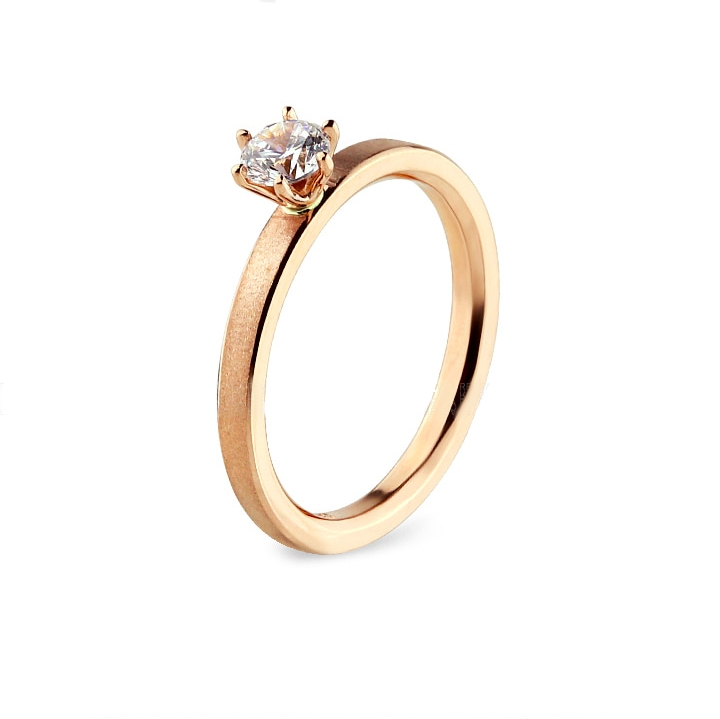 Inel logodna aur  14 k cu diamante